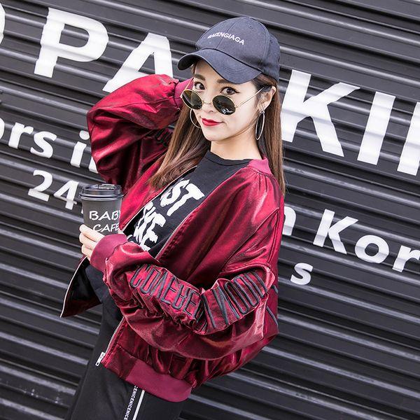 letter Women Autumn Sweatshirt Jacket Coat Metallic Luster Cool O Neck Female Spring Outerwear Sweatshirts Jackets Coats