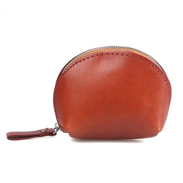 Vegetable tanned leather shell coin bag leather new retro leather wallet purse Small body large capacity Coin Purses