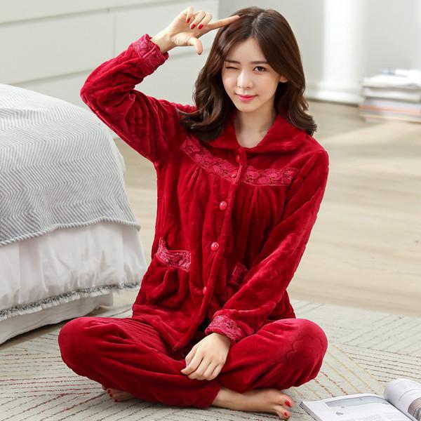 Mulheres Inverno Quente Flanela Pijama Feminino Coral Conjuntos de Pijama de Lã Sleepwear de Veludo Longo-luva Camisola Casual D-2054