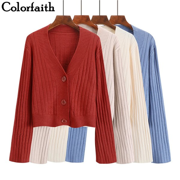 Colorfaith Women Cardigans Sweater New 2019 Knitting Autumn Winter Casual Buttons Single Breasted Outer wear Ladies Tops SW1003