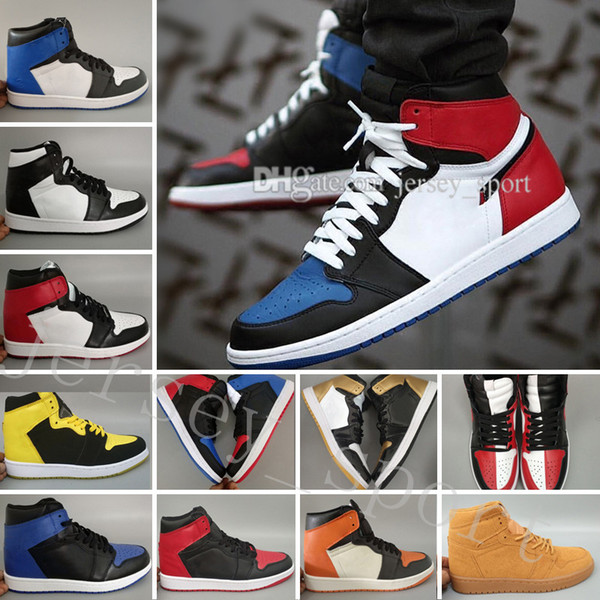 2018 nouveau OG 1 Top 3 Hommes Chaussures de Basket-Ball Blé Or Bred Toe Chicago Banned Royal Bleu Fragment UNC Sneakers Sport formateurs designer chaussures