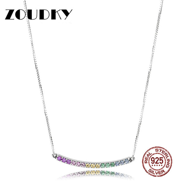 ZOUDKY 2018 NEW 100% 925 Sterling Silver Multi-Colored Curved Bar Necklace Colorful Zircon Rainbow Pendant Clavicle Chain