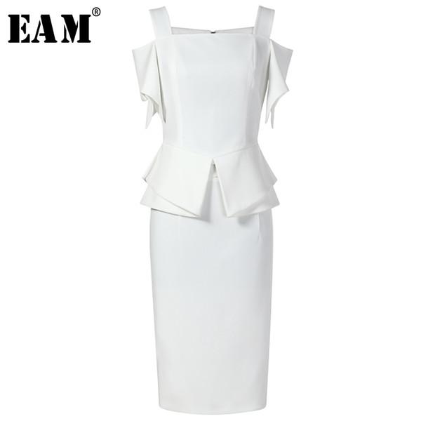 [EAM] 2018 nuevo verano sin tirantes blanco volantes Vent Split conjunta falda de medio cuerpo de dos piezas traje moda marea JG126