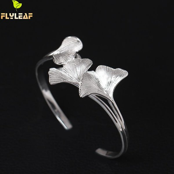 Flyleaf 925 Sterling Silver Ginkgo Leaves Open Cuff Bracelets & Bangles High Quality Elegant Lady Gift Sterling-silver-jewelry