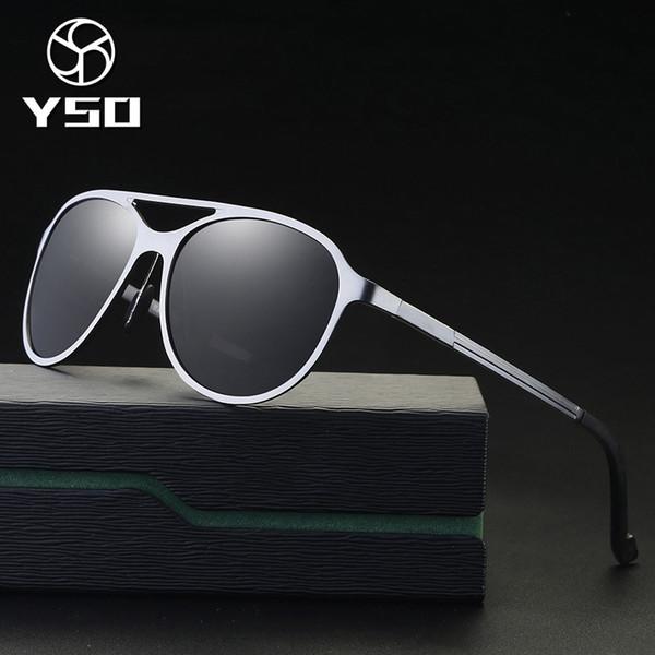YSO Sunglasses Men Polarized UV400 Aluminium Magnesium Frame TAC Lens Sun Glasses Driving Glasses Pilot Accessories For Men 8597