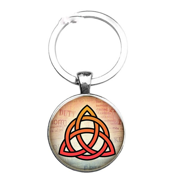 Sacred Geometry Virus Logo Five-pointed Star Fashion Glass Jewel Keychain Round Ornaments To Map Private Custom