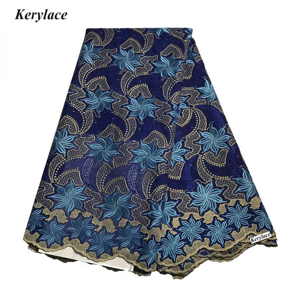 10 Color Nuevo Azul Costura Artesanal Tela Africana Bordado Piedras de Encaje Algodón Nigeriano Gran Tela de Encaje Suizo Voile Encaje Mujeres Vestidos de Novia