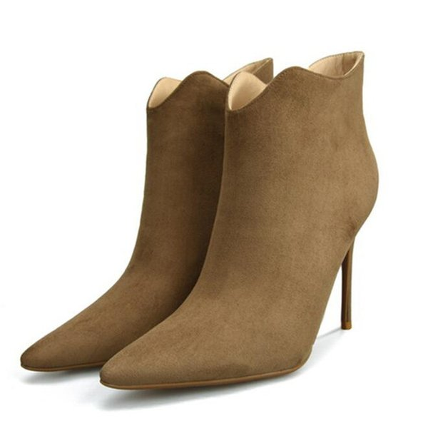 2018 Winter Cow Suede Women Flounces Ankle Boots 8CM/10CM Thin High Heels Pointed Toe Women Botas Plus Size32-42 Black Grey