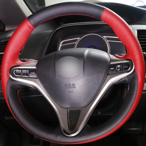 DIY Hand-stitched Car Steering Wheel Cover Black Red Leather for Honda Civic Old Civic 2006-2011