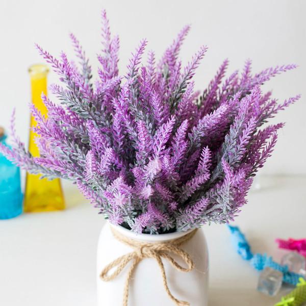 Vendita calda Decorazione romantica Provenza Lavanda Fiore Seta Fiori artificiali Grano Simulazione decorativa di piante acquatiche