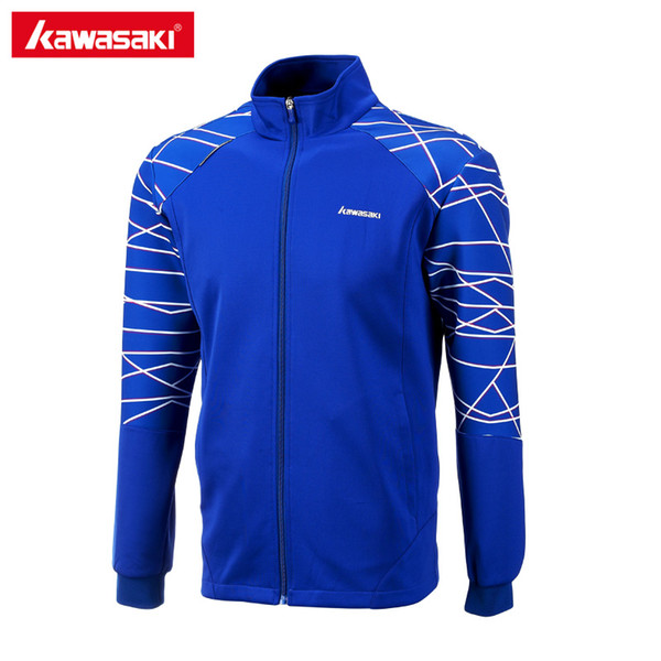Kawasaki Brand Windproof Sports Jackets for Men Autumn Breathable Prevent Electrostatic Blue Tennis Badminton Jacket JK-171805