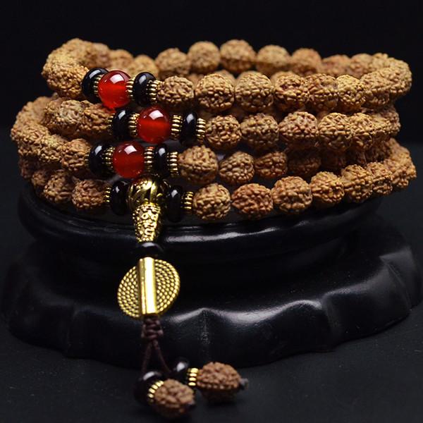 Long tibétain 108 8 mm Rudraksha Bodhi Graines de prière perles Mala Collier Bracelet @
