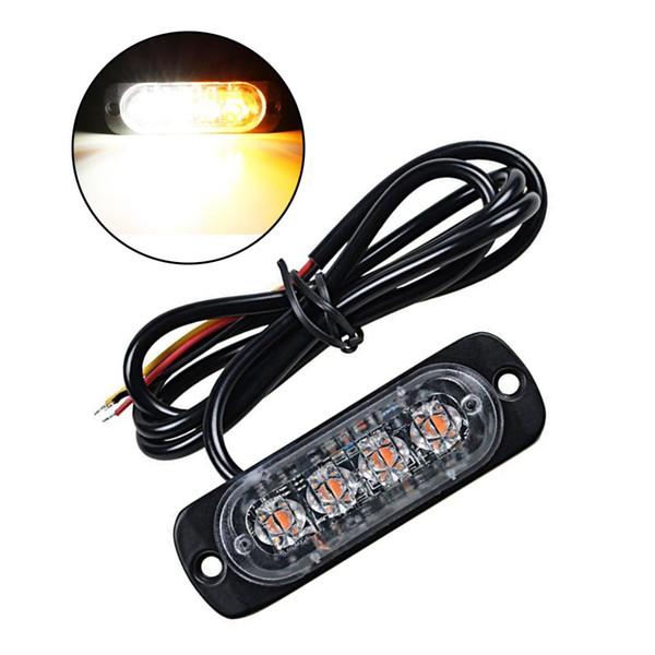 12W 12-24V 4 LEDs Strobe Light 19 Modes Ultra-thin Emergency Flash Warning Caution Light for Trucks Cars Motorcycles