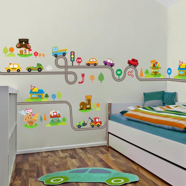Carros dos desenhos animados Estrada Pista Adesivos de Parede Para Quartos de Crianças Adesivo Crianças Play Room Quarto Decor Wall Art Decalques