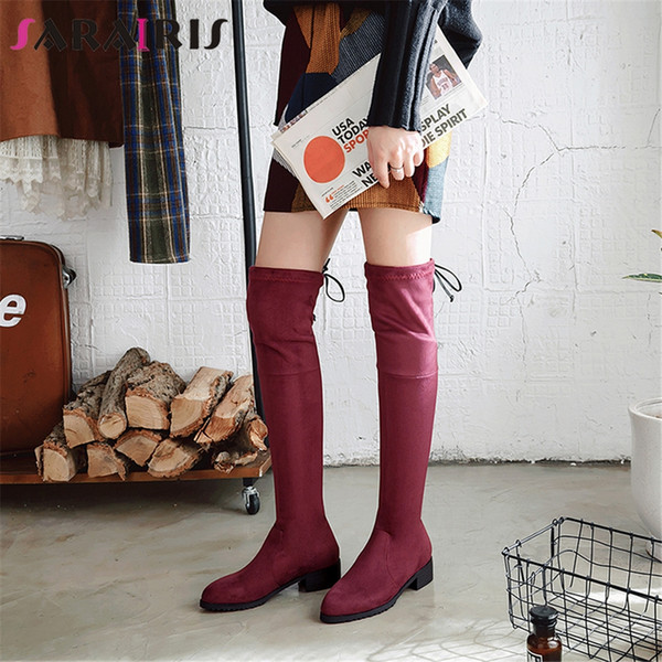 SARAIRIS New Big Size 33-46 Wide Med Heels Pointed Toe Cross Tied Shoes Woman Casual Fashion Winter Over The Knee Boots 6 Colors