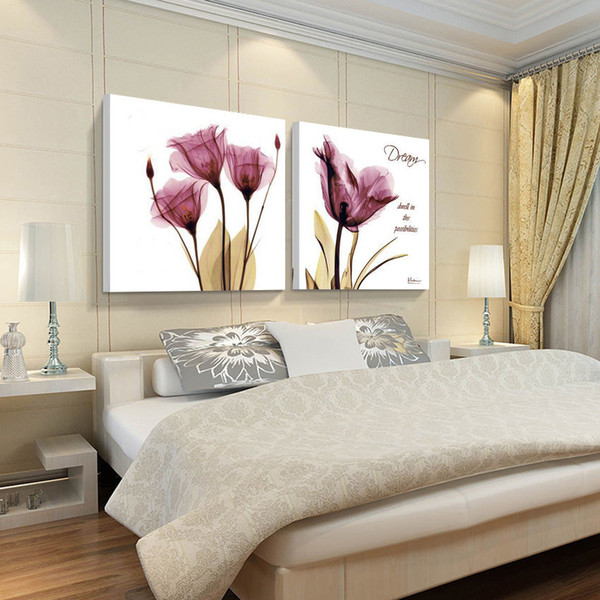 2 Piece Print Painting Canvas Wall Art Modern Flower Decoration Picture red purple Solid Color Picture Abstract Impression