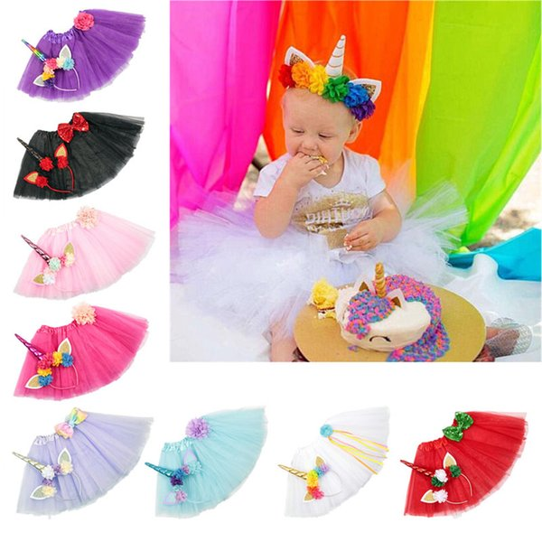 9 Color Girls INS Unicorn TUTU skirt +hair accessory sets 2018 New summer lace Bow flower decoration short skirt kids dress 1~6years B