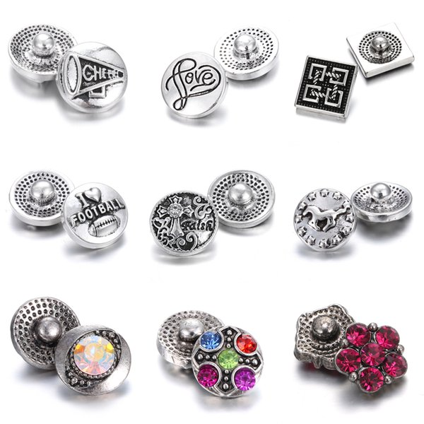 Interchangeable Jewelry Mini 12mm Snap Button with Rhinestone Cross Love Metal Noosa Chunks Ginger Charms Button Jewelry Snap Bracelet