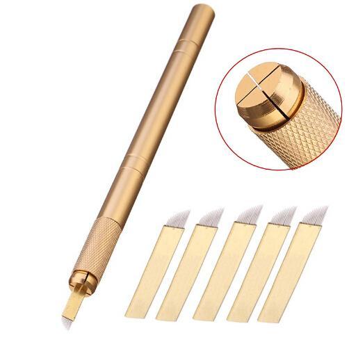 8df53fa00 5pcs 12pin Blade Needles+Golden Tebori 3D Pen Microblading Tattoo Machine  For Permanent Makeup Eyebrow