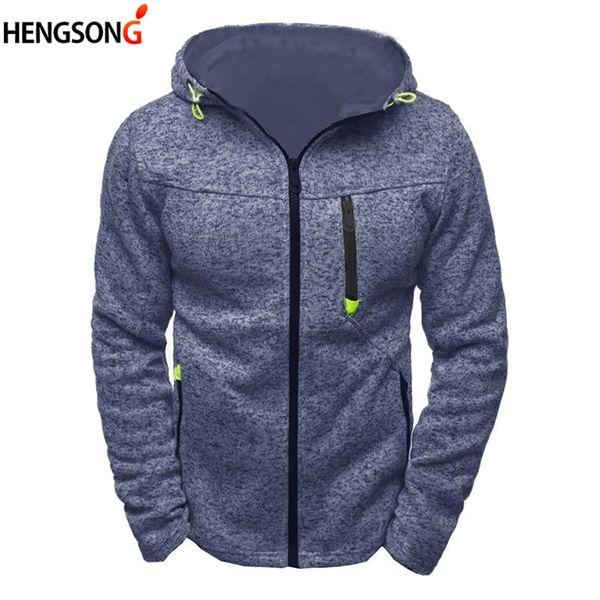 2018 New Spring Winter Men's Hoodies Contrast Color Slim Sweatshirt Long Sleeve Casual Hooded Zipper Pocket Male Clothing 702132
