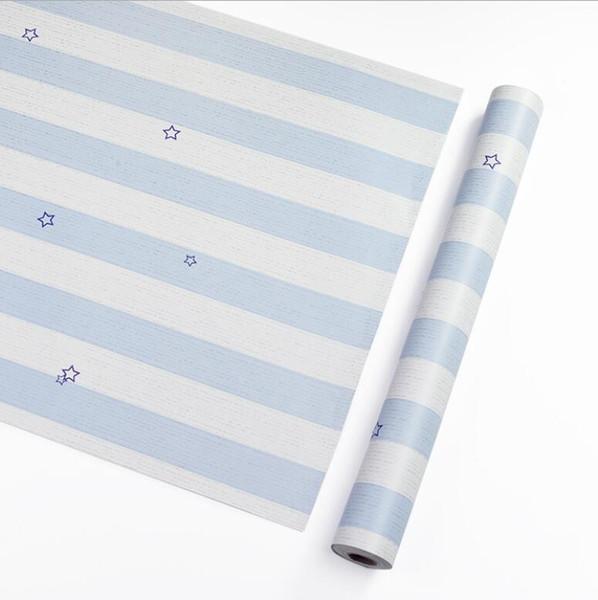 Großhandel 45 cm * 10 mt PVC Blau Rosa Stern Streifen Tapete Selbstklebende Kühlschrank Aufkleber Wasserdicht Vinyl Möbel Aufkleber Kindergarten Kleiderschrank DIY