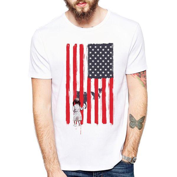Kleines Mädchen und Wölfe druckten T-Shirt 2018 Neues Sommer-T-Shirt Cooles T-Shirt der Männer Marken-amerikanische Flaggen-Hemd-bequeme Spitzen