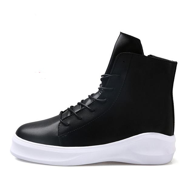 Hommes Zipper en cuir cheville bottes hommes mode travail chaussures hommes Casual Moto chaussures Épais semelle Plate-Forme marée Harajuku bottes pour hommes