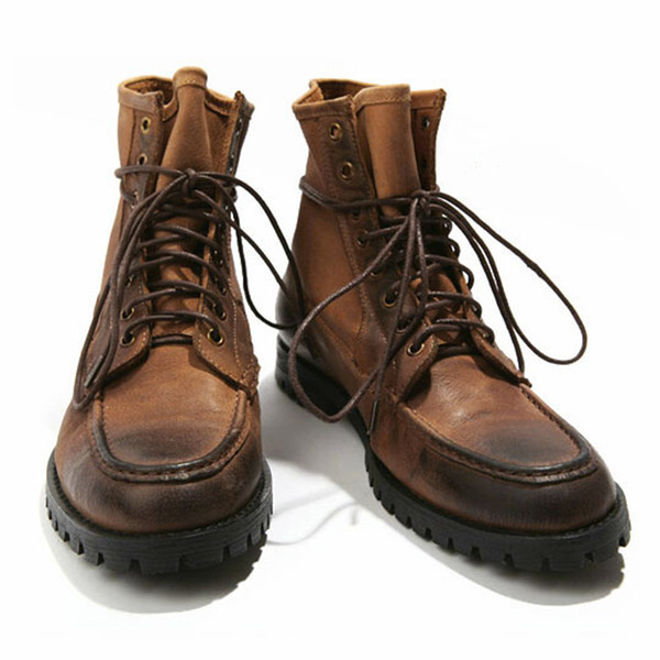 US 6-10 Top Real Leather Mens Lace Up Motorcycle Style Military Boots Casual Winter Shoes