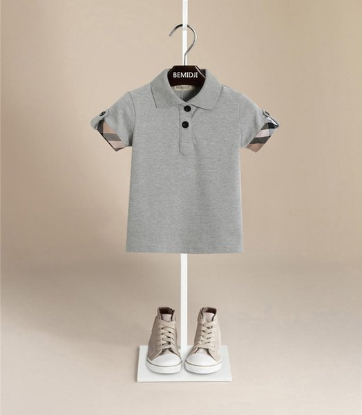 top popular Hot Sales Boys Summer T-shirt Plaid Polo Pure Cotton Leisure Top Tees Bead Color Children Hot Fashion High-End Children Shirt 2020