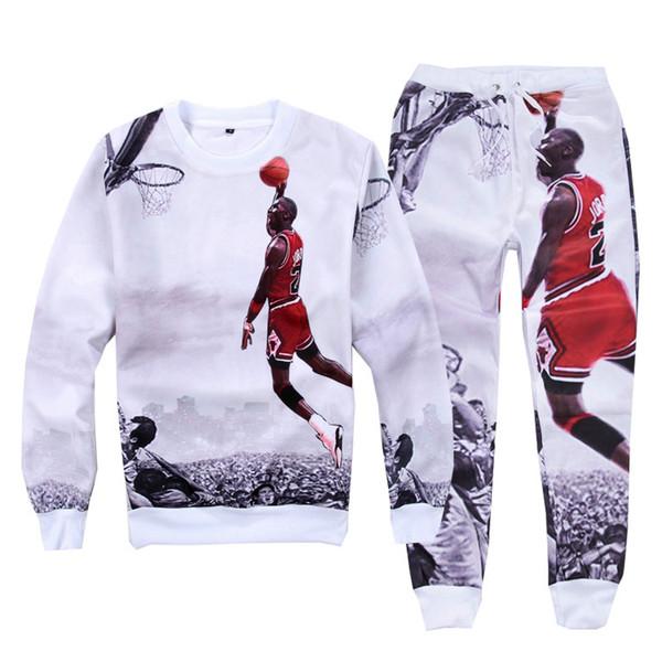 3D Printed Men's Casual Hoodies Basketball 23 Bowler Air O Neck Cotton Hoodies Top With Same Printed Pants
