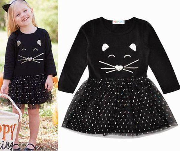 2018 fall kids dresses sequin cat long sleeve dress dot tutu black dresses girls boutique clothing baby cotton dress little girl clothes hot