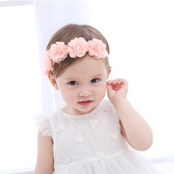 Baby Gauze Flower Hairband 0 to 2 years Hair Accessories 5 Pink Flowers Beautiful Girl Hair Band Infant Clips