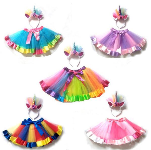 Unicorn Girls Tulle Gonne Pettiskirt bambini Rainbow Tutu Abiti bambini Dancewear Ballet Gonne Ruffle Costume Mini Princess Dress B11