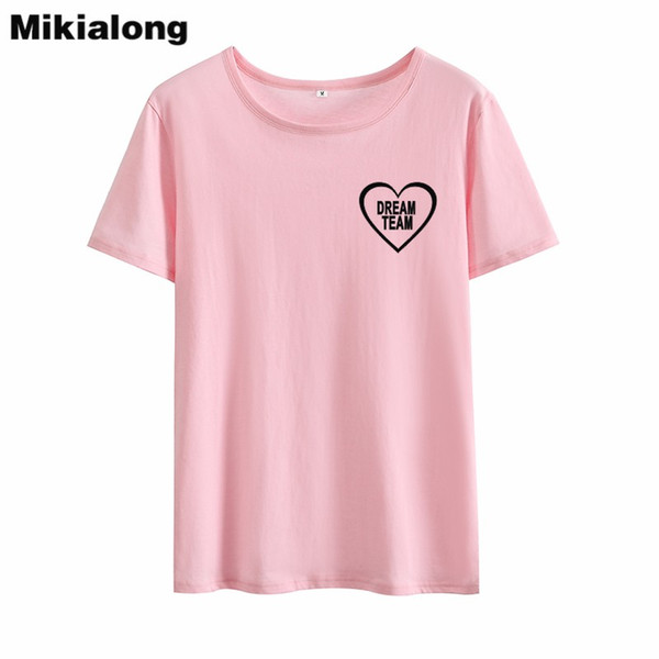 Kadın Tee Mrs Win Rüya Takım Sevimli Kalp Şekli Tshirt Kadınlar Ulzzang Kore Tarzı Bff T-shirt Kısa Kollu Gevşek Temel Yaz Kadın Tops