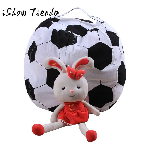 Kids Stuffed Animal Plush Football Toy Storage Bean Bag Soft Pouch Stripe Fabric 2018 Portable Kids Clothes Toy Storage Bags