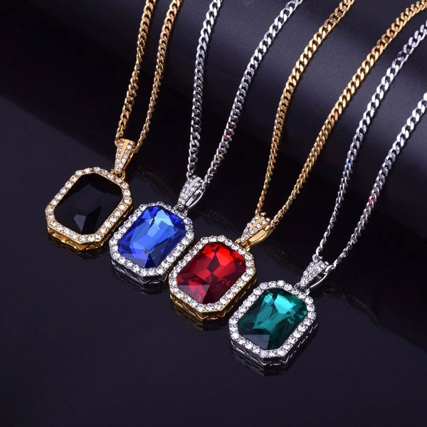 Iced Out Mini Square Red Blue Gem Crystal Bling Rhinestone Statement Pendant Necklace 20Inch Cuban Chain Drop Shipping