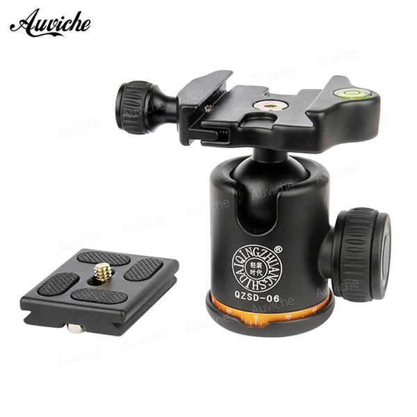 QZSD Q06 Aluminum Tripod Ball Head With Quick Release Plate & Two levels Max Load 6KG For Benro Manfrotto Tripod Head