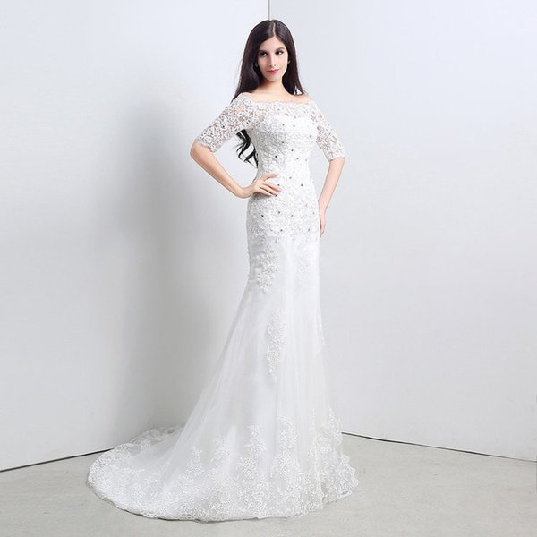 2019 Elegant Bateau Mermaid Wedding Dresses Half Sleeves Lace Appliques Bridal Gowns with Shining Rhinestones Lace up Back Wedding Gowns