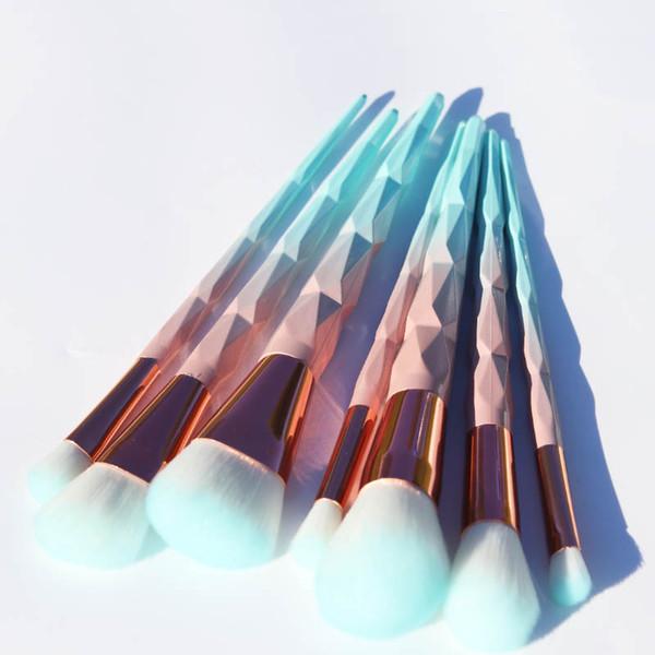 AiceBeu 7/10/12pcs Unicorn diamond Makeup Brushes Set Green Macarons color Facial Foundation Cosmetic Makeup Brush Kit