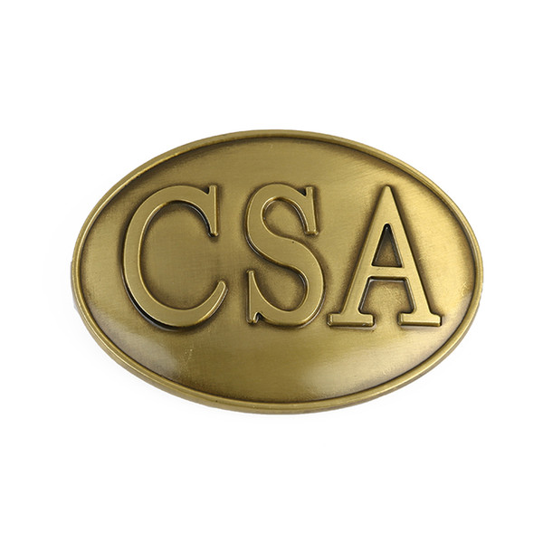 CSA Confederate States Of American Belt Buckle Brass Finished Civil War Rebel
