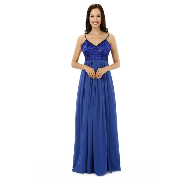 Special Fashion Elegant V Neck Spaghetti With Beading A Line Blue Chiffon Long Party Formal Evening Dresses Women Prom Dress Gowns