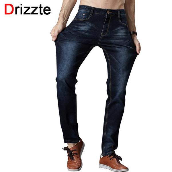 Wholesale-Drizzte Men's Jeans High Stretch Fashion Black Blue Denim Brand Men Slim Fit Jeans Size 30 32 34 35 36 38 40 42 Pants Jean