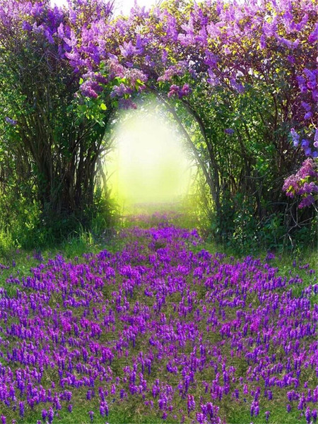 Purple Flower Trees Arched Door Children Girl Photography Backdrops Printed Grassland Lavender Spring Scenic Wedding Photo Booth Background
