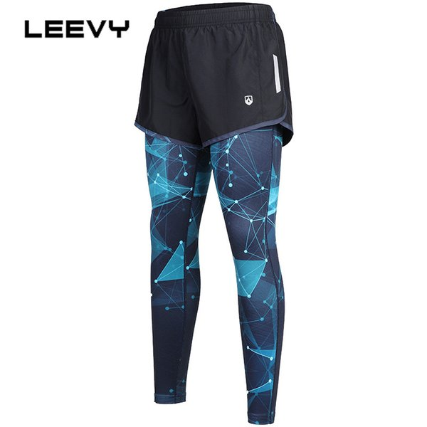 04ea628712bb6 Leevy Autumn Winter Running Pants Women Compression GYM Fitness Yoga Tights  Sports Leggings Trouser Space Pattern