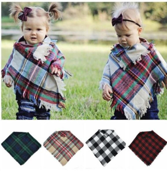 top popular Children Baby Scarf Plaid Cloak Plaid Cloak Warm Knitted Blouse Shawl Baby Plaid Scarf Poncho suit for 3-5 years KKA5823 2021