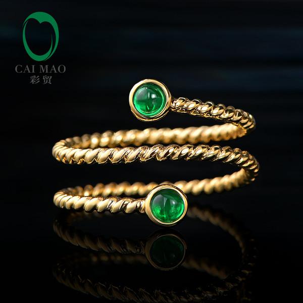 CaiMao Smalle Bisel 0.24ct Esmeralda natural exquisito anillo de esmeralda 14K Alianza de boda de oro amarillo de tamaño variable
