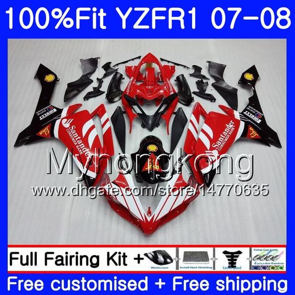 Injection Body For YAMAHA YZF R 1 YZF 1000 YZFR1 07 08 227HM.24 YZF R1 07 08 YZF1000 YZF-1000 Santander red hot YZF-R1 2007 2008 Fairing Kit