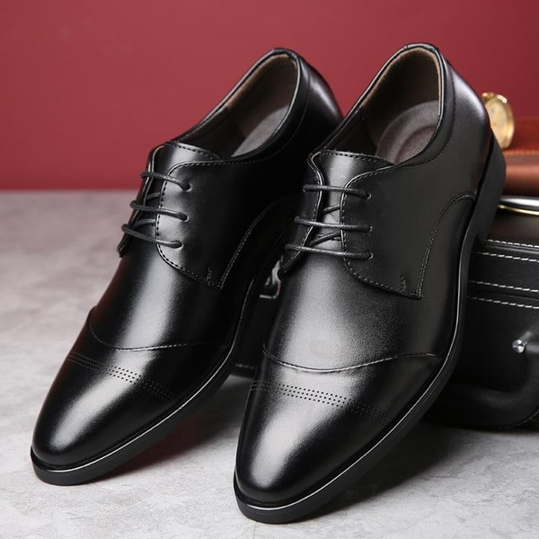 Plus size 37-47 brogue men shoes wear-resistant breathable mens shoes made of genuine leather dress shoes