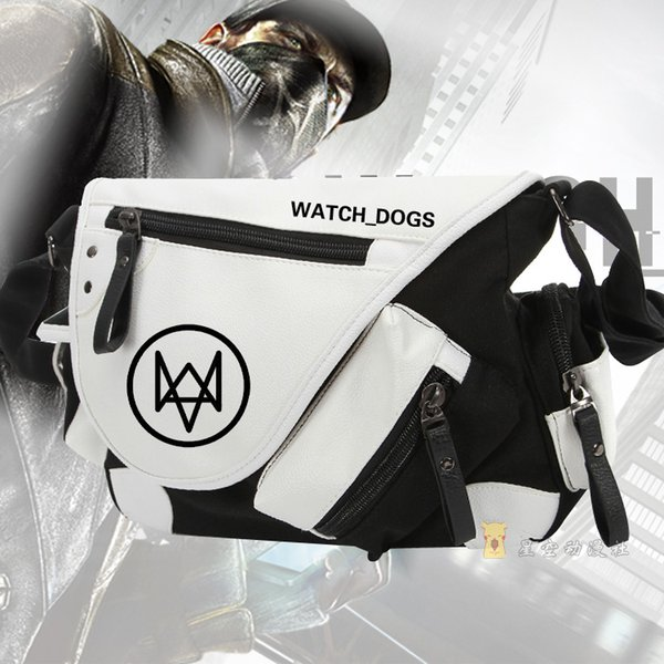 Game Watch Dogs 2 Bags Anime Aiden Pearce Messenger Bag Canvas+patent leather school shoulder Handbags
