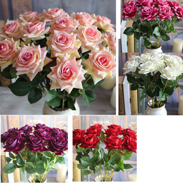 Big Sale 1pcs Valentine's Rose Spring Artificial Fake Flower Arrangement Bouquet Room Wedding home Decor Real Touch Flower